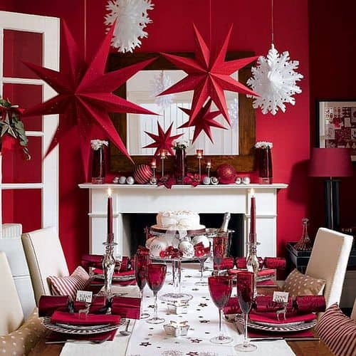 Very Elegant Christmas Table setting in Red and White