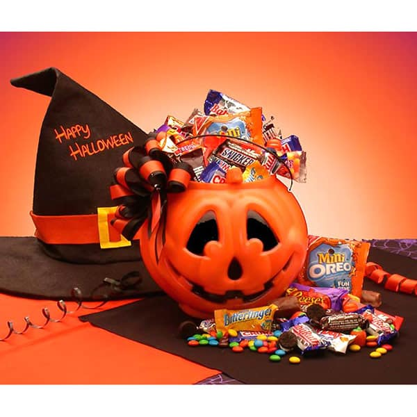 Halloween Pumpkin gift basket of candy