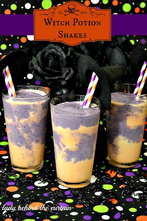 Serve this bewitching beverage to your unsuspecting guests.  Create a fun and playful  treat with these witch potion Shakes.