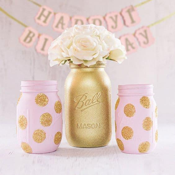DIY Mason Jars painted Pink and Gold