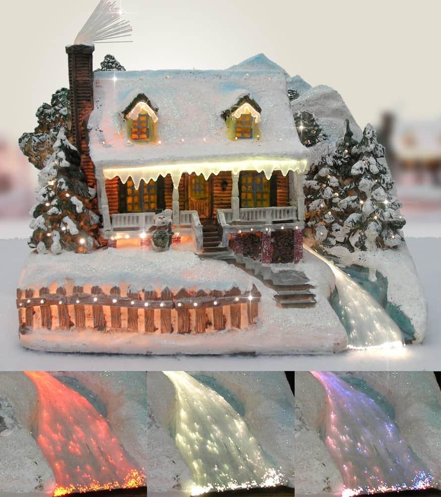 Christmas Snow Village Fiber Optic House