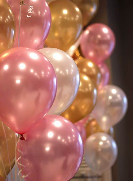 Always need Balloons at a party. Need some Pink and Gold Balloons to add the finishing touches