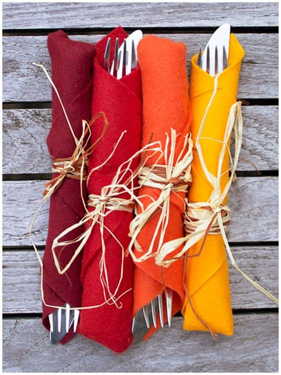 Very Simple Felt wrapped cutlery in Fall colors