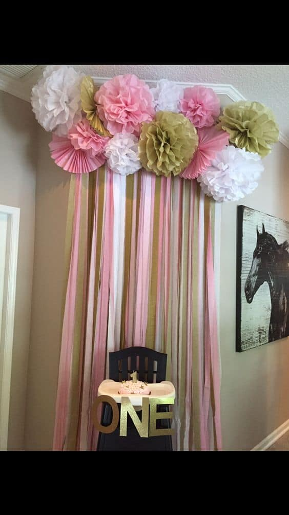 Pink and Gold Streamers and Pom Poms