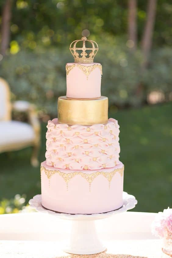 This Gorgeous Pink and Gold Cake with a Gold Crown is just perfect for a Princess Party