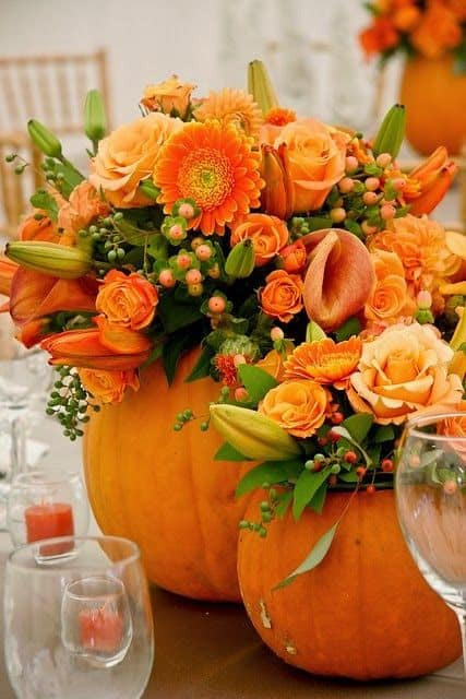 Orange Flower Table Setting for you thanksgiving table just perfect.