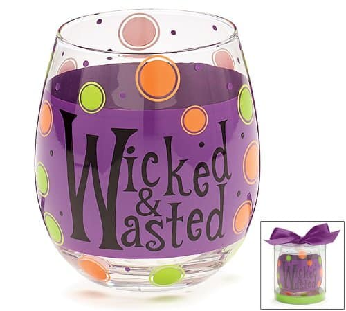 Wicked and Wasted Halloween Wine Glass