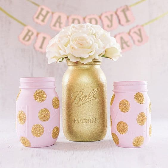 DIY Mason Jars painted Pink and Gold