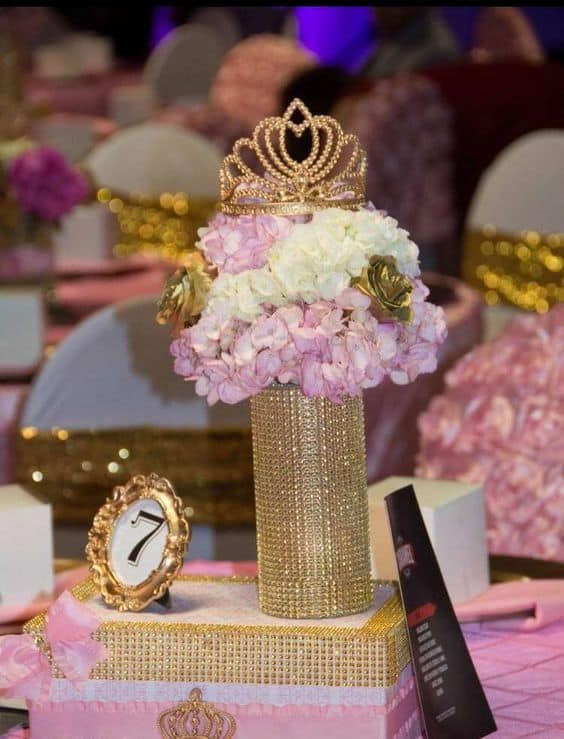 Stunning Pink and Gold Centrepiece for any Princess birthday party