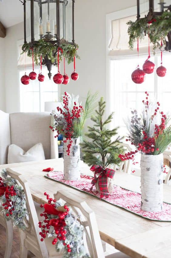 Red and White with a splash of Greenery are just perfect for the Christmas Table