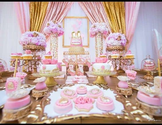 Table set for a Pink and Gold Princess Birthday party