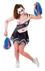 Black Ladies Zombie Cheerleader Costume