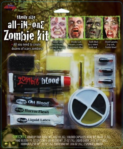 All In One Zombie Kit Costume Makeup