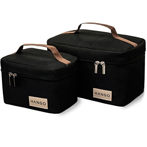 Insulated Lunch Box Cooler Bag (Set of 2 Sizes), Black