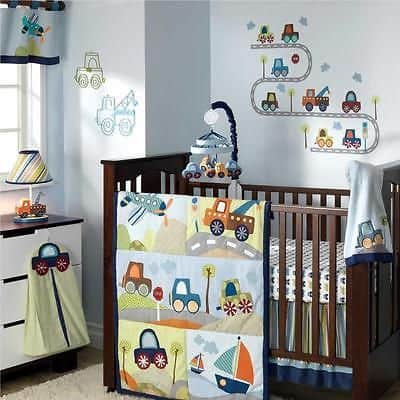 Colorful Crib Bedding Set for boys- construction crib sets