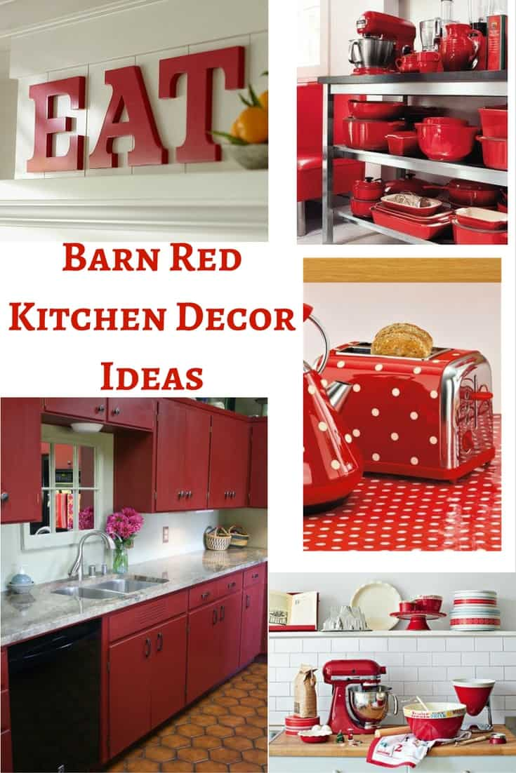 Barn red kitchen decor ideas hip who rae for Kitchen picture decor