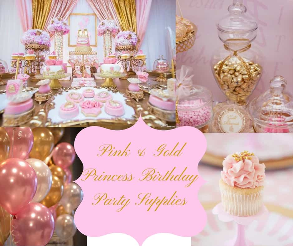 Pink Gold Princess Birthday Party Supplies