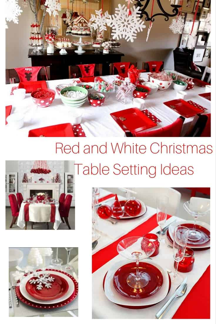 Getting ready for Christmas there have a look at these gorgeous Red and White Christmas Table Setting Ideas