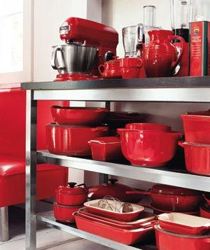 Barn Red Kitchen Applainces and cooking utensl, pots,pans and bakeware
