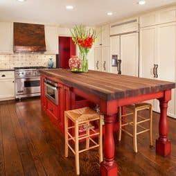 Huge Barn Red Kitchen Island Bench with mega amounts of storage