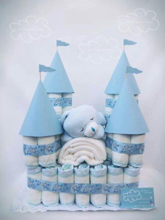 Baby Boy Castle Diaper Cake Very Easy to Make Yourself.