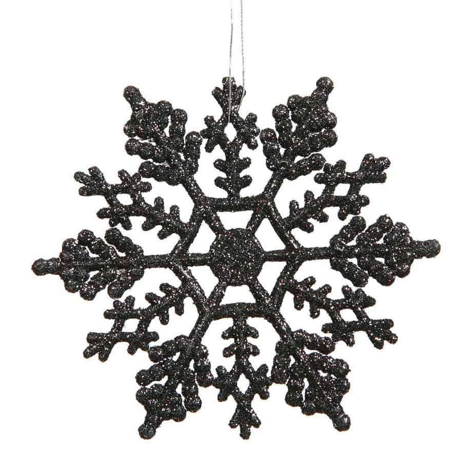 Jet Black Glitter Snowflakes look amazing