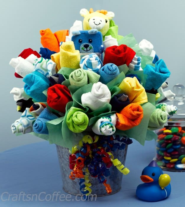 Very Colorful Baby Sock Flower Bouquet looks amazing and perfect as a gift.