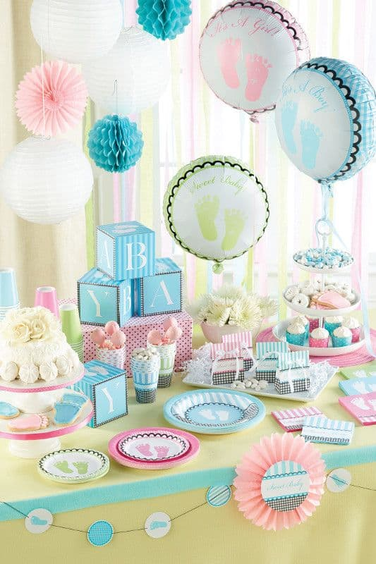 Traditional Baby Shower Colors for a boy or girl.