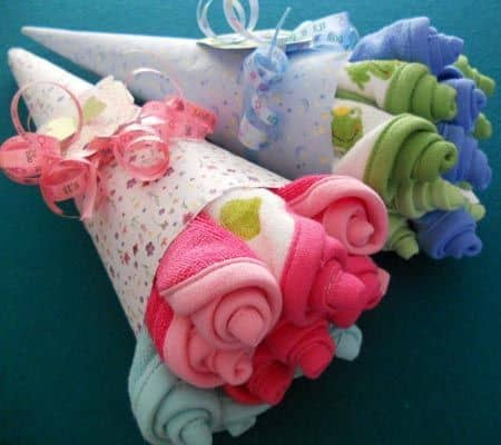 Baby Sock or Washcloth Flower Bouquet.