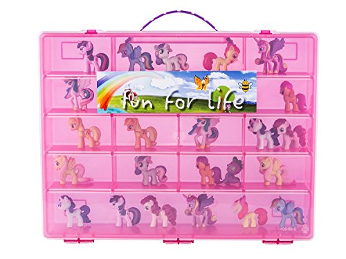 Storage Organizer for Little Pony Figures Fits Approx. 80 pieces - Strawberry/Pink