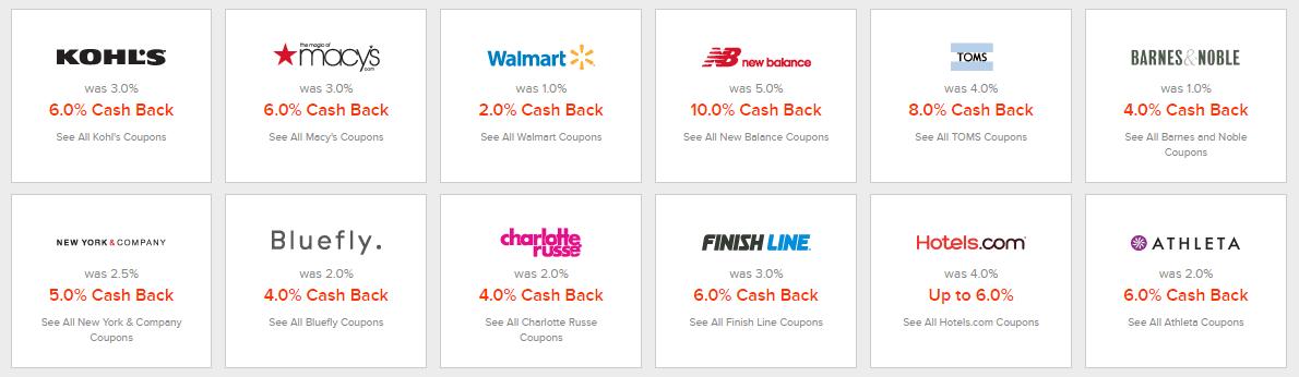 ebates cash back deals