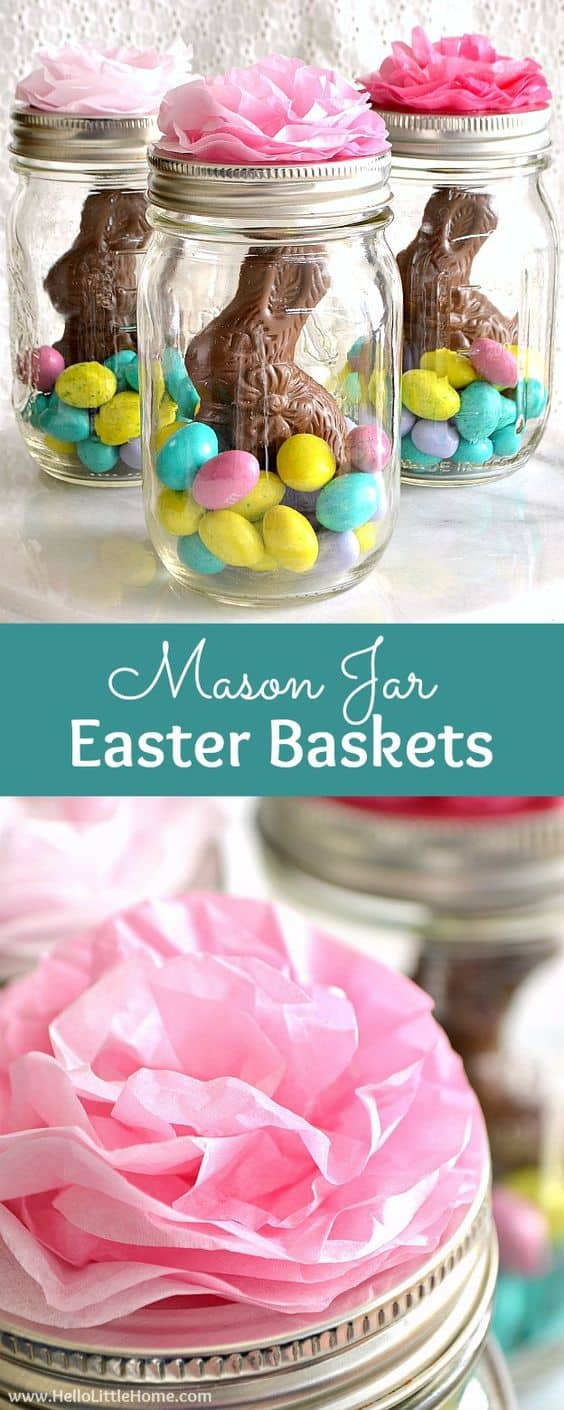 Mason Jar Easter Baskets ... a cute gift idea that takes minutes to make! This fun mason jar craft idea for Easter. Kids Will love helping to make these.