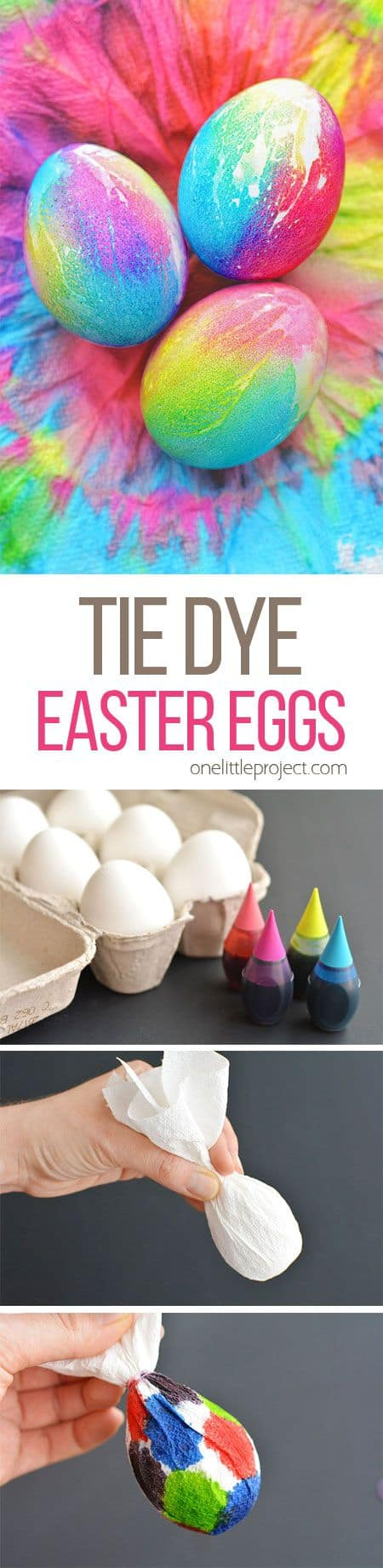 These Tie Dye Easter Eggs are SO FUN and they're so simple to make! The colors are bright and beautiful and the eggs are completely safe to eat!