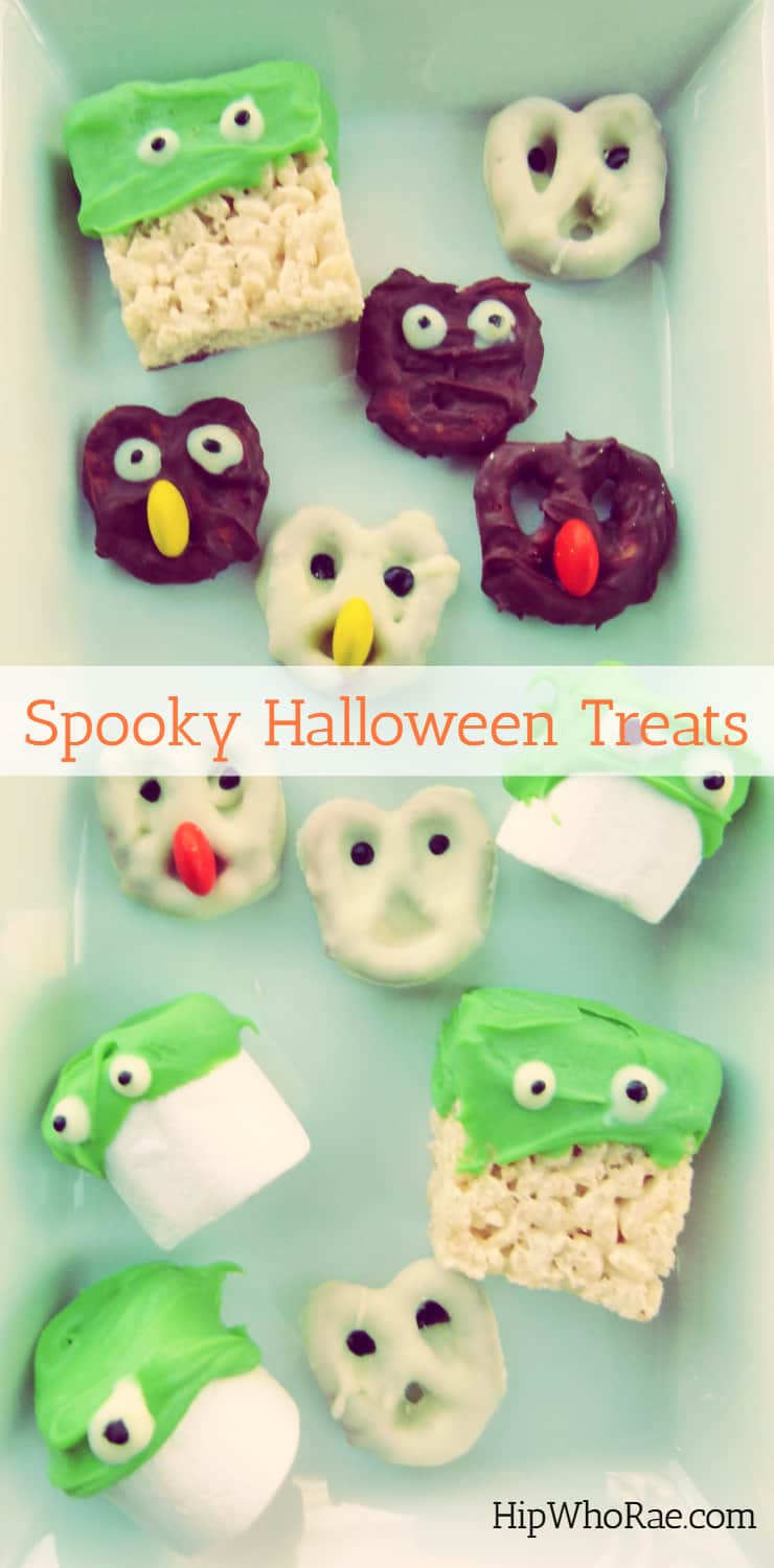 Spooky Halloween Treats. These Chocolate covered Pretzels,Rice Krispies and Marshmallows are really fun and easy to make and taste yummy.!!