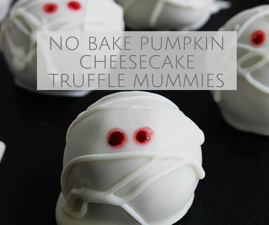 No Bake Pumpkin Cheesecake Truffle Mummies