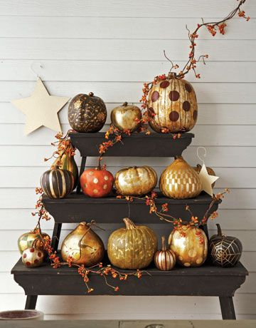 Fabulous Fall Gold Painted Pumpkins lots of great ideas for you here.