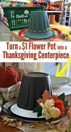 Dollar Store Flower Pot Hat as a Centerpiece