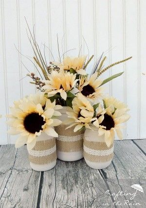 Home-Made Thanksgiving Vases made with jars and twine and look so cool