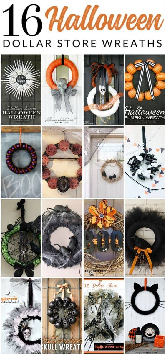 Halloween Dollar Store Wreaths