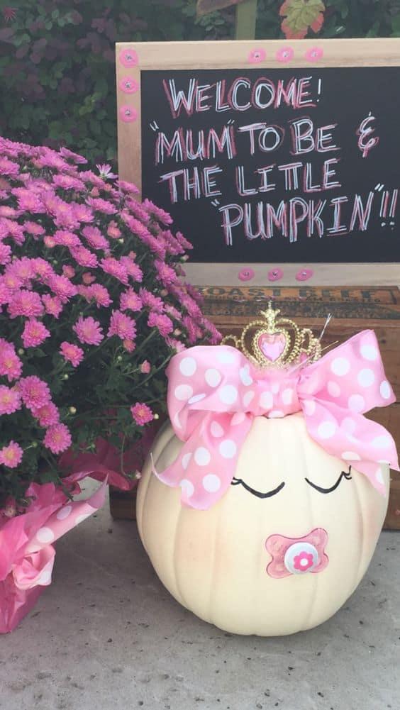 Fall Pumpkin Baby Shower Ideas for girls, pretty white pumpkin with pink ribbon