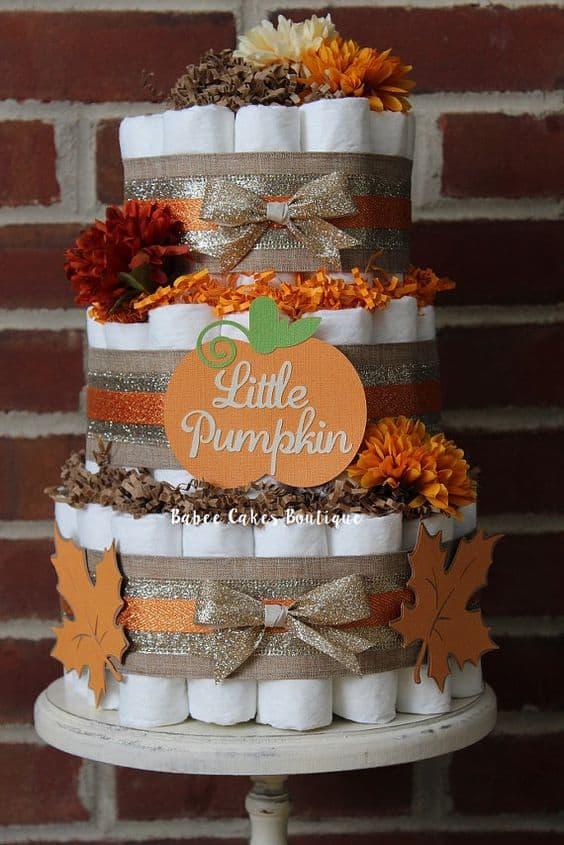 Little Pumpkin Diaper Cake