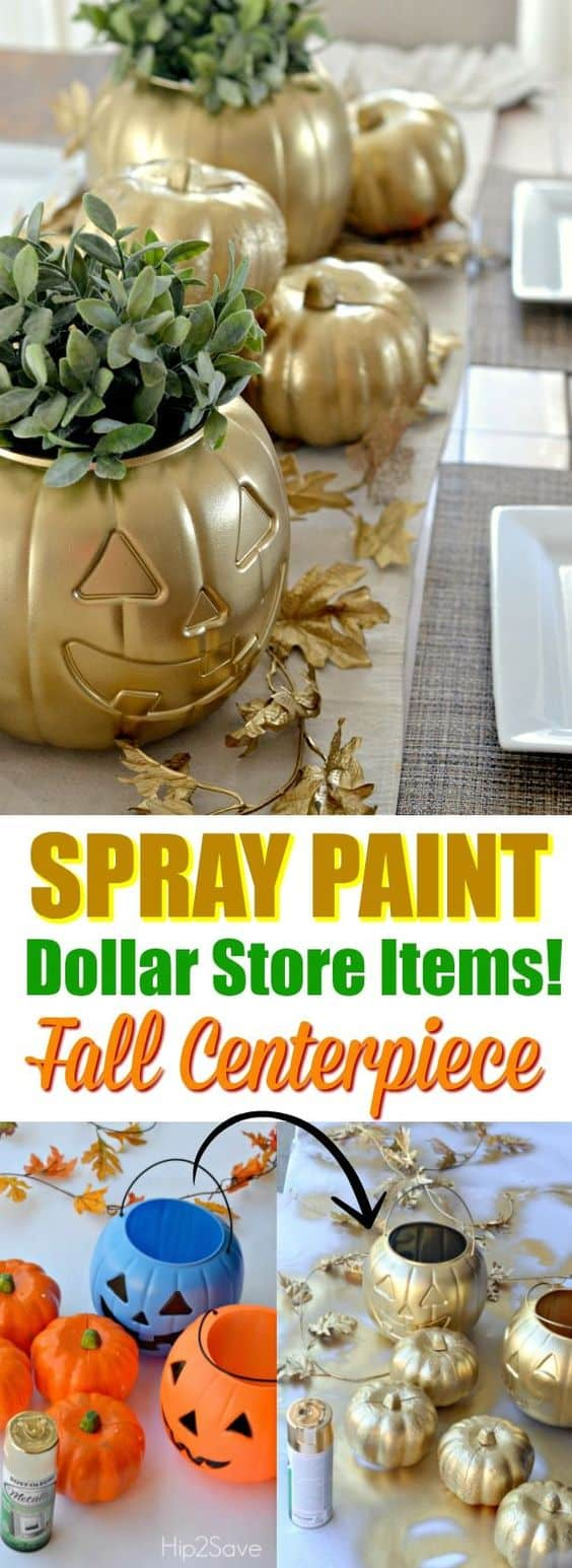Spray Painted Gold Fall Pumpkin Centerpiece. These are so cool