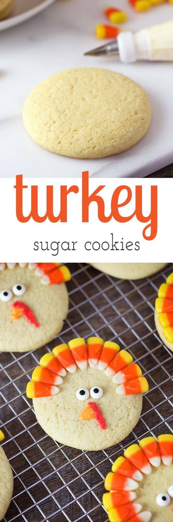Turkey Sugar Biscuits look so cute they are very simple but will WOW the kids