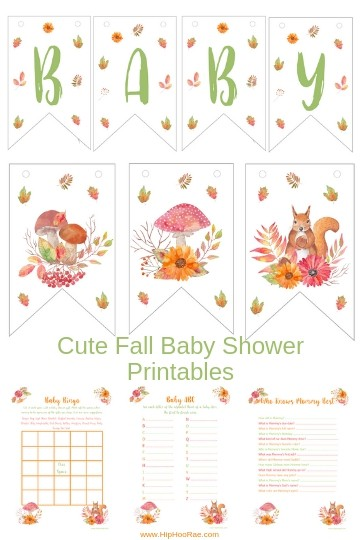 Cute Fall Baby Shower printables games, Cup Cake Toppers, Banners, gift tags