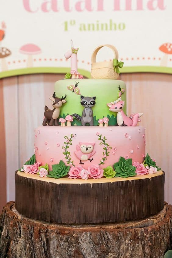 Fall Baby Shower Cake Foxes and Trees