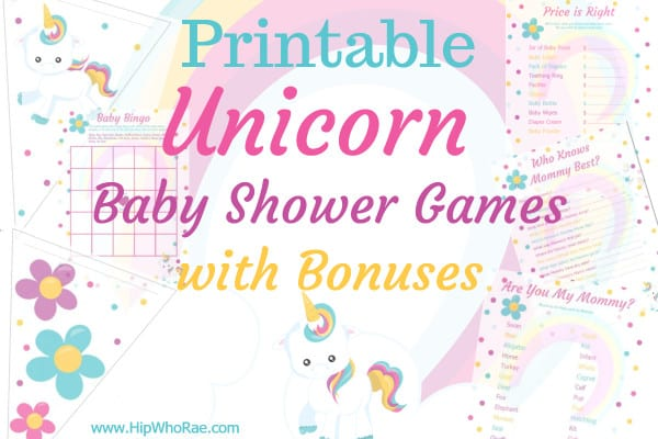 Unicorn Baby Shower game Printables