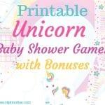 Printable Unicorn Baby Shower Games