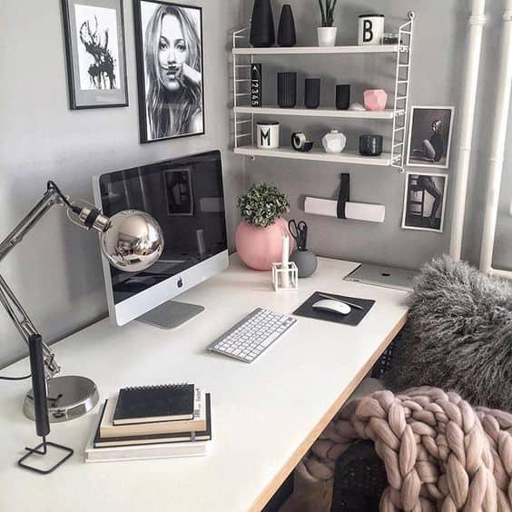 Pink and Grey desk organization