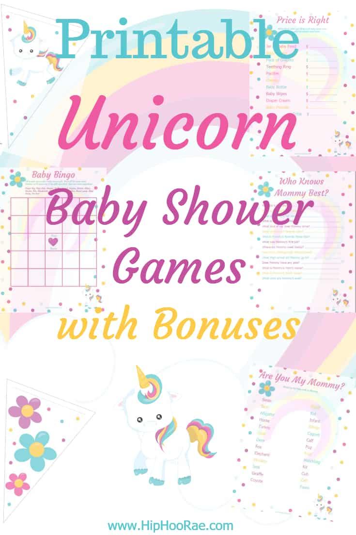 Printable Unicorn Baby Shower Games with Bonuses