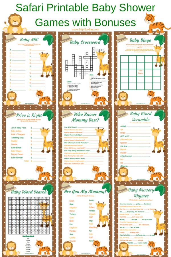 Safari Printable Baby Shower Games- Jungle Theme Baby shower